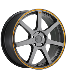 MOTEGI RACING MR132 15X6.5 5X114.3 MATTE GREY ORANGE CIRCLE