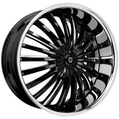 LEXANI ROYAL 24X9 6X114.3 GLOSS BLACK/MILLED WINDOW EDGE & STAINLESS STEEL LIP - WHEEL
